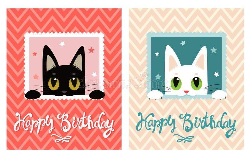 Scheda di buon compleanno Scheda di buon compleanno con il gatto sveglio Cartolina d'auguri illustrazione di stock