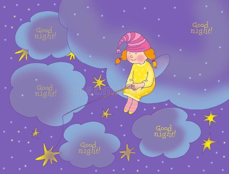 Scheda di buona notte royalty illustrazione gratis