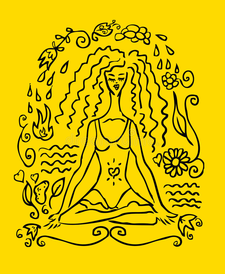 Scheda di falsificazione del tatuaggio della donna di yoga royalty illustrazione gratis