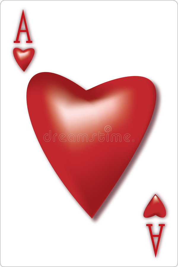 Scheda di gioco dell'asso del biglietto di S. Valentino immagine stock