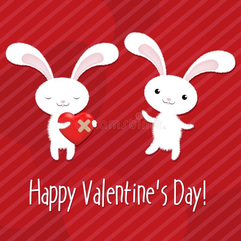 Scheda di giorno dei biglietti di S. Valentino con i conigli illustrazione di stock