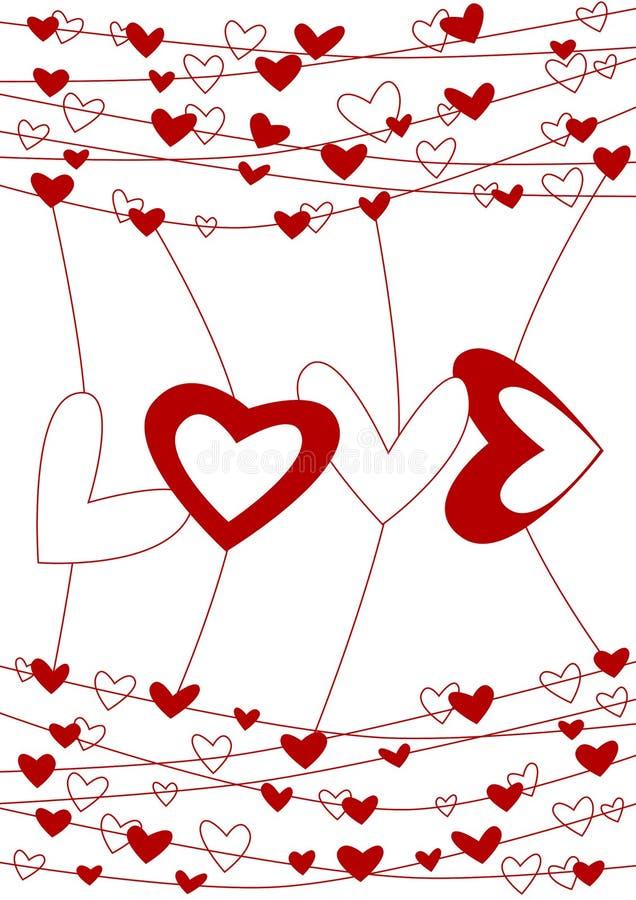 Scheda di giorno dei biglietti di S. Valentino del collegare di amore illustrazione di stock
