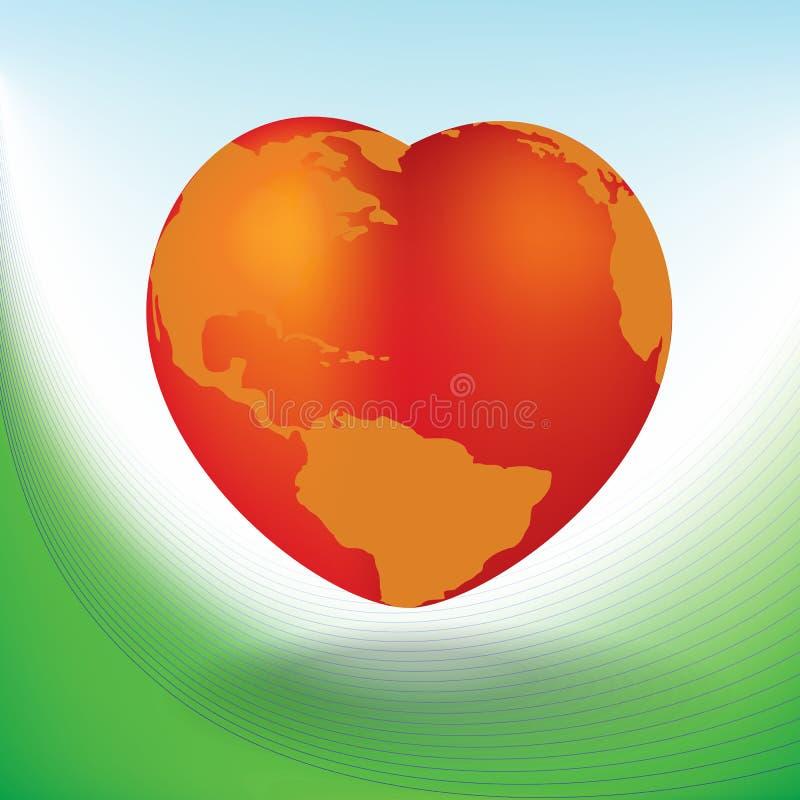 Scheda di giorno del biglietto di S. Valentino con il globo a forma di del cuore illustrazione vettoriale