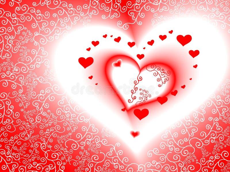 Scheda di giorno del biglietto di S. Valentino, vettore, cuore romantico illustrazione di stock