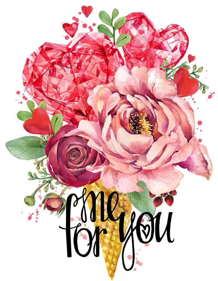 Scheda di giorno del biglietto di S Fiore di Rosa ed illustrazione rossa del cuore Fondo di lusso di cristallo del diamante illustrazione di stock