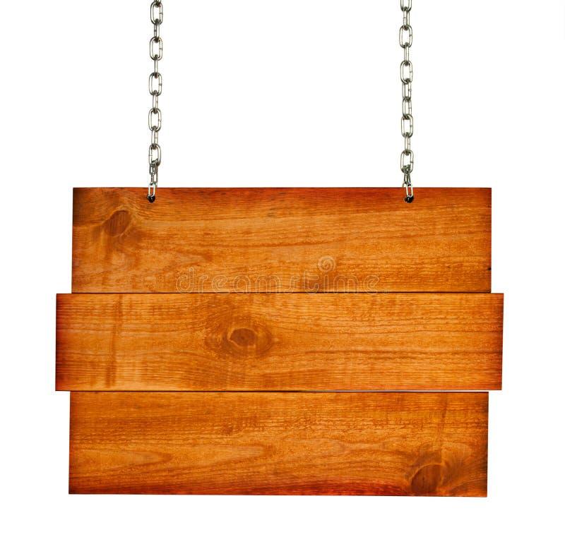 Scheda di legno del segno dell'annata con le catene immagine stock libera da diritti