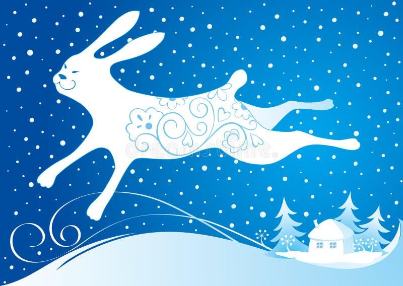 Scheda di nuovo anno con coniglio illustrazione di stock