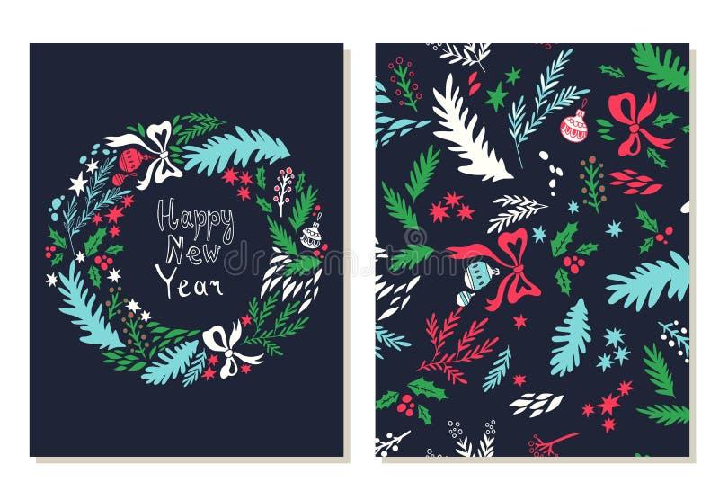 Scheda di nuovo anno felice Cartoline d'auguri messe con i simboli di natale illustrazione di stock