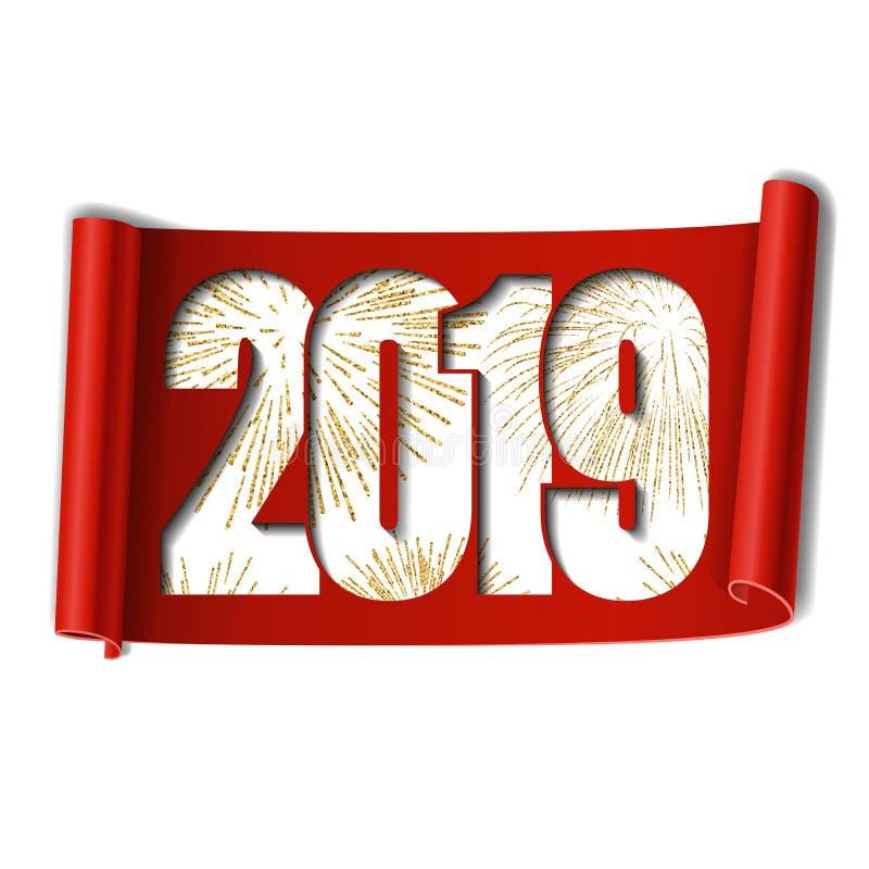 Scheda di nuovo anno felice Numero bianco 2019, fuoco d'artificio dell'oro Fondo bianco isolato rotolo Handscroll dorato del nast illustrazione vettoriale