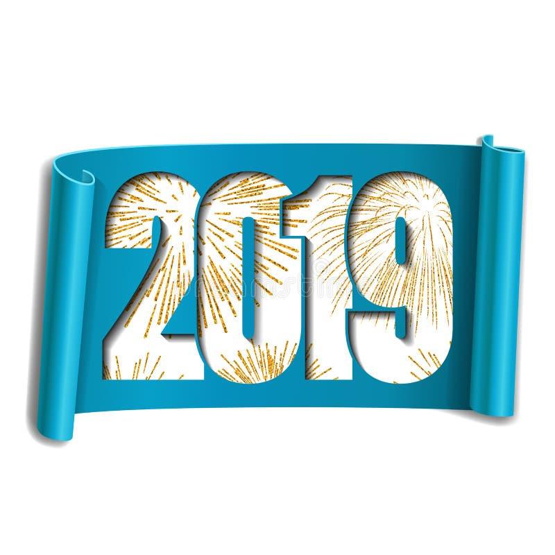 Scheda di nuovo anno felice Numero bianco 2019, fuoco d'artificio dell'oro Il rotolo 3D ha isolato il fondo bianco Handscroll del royalty illustrazione gratis