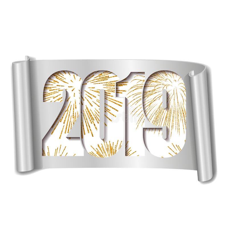 Scheda di nuovo anno felice Numero bianco 2019, fuoco d'artificio dell'oro Il rotolo 3D ha isolato il fondo bianco Handscroll dor illustrazione di stock