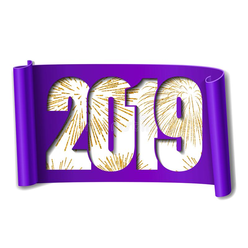 Scheda di nuovo anno felice Numero bianco 2019, fuoco d'artificio dell'oro Il rotolo 3D ha isolato il fondo bianco Handscroll por illustrazione vettoriale