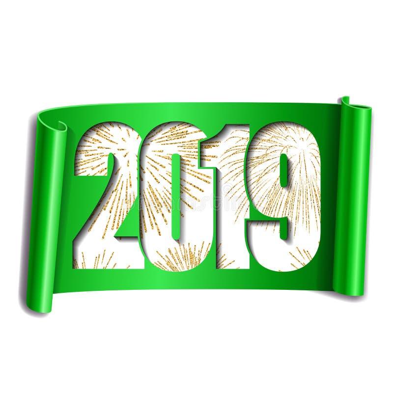 Scheda di nuovo anno felice Numero bianco 2019, fuoco d'artificio dell'oro Il rotolo 3D ha isolato il fondo bianco Handscroll ver illustrazione di stock