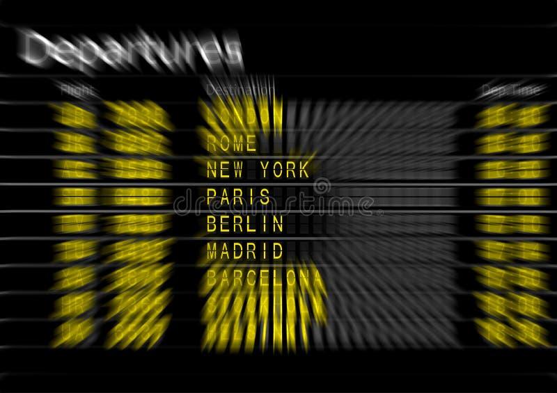 Scheda di partenze dell'aeroporto fotografia stock