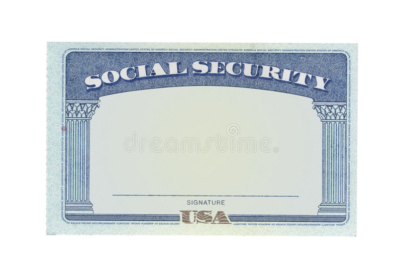 Scheda di previdenza sociale in bianco