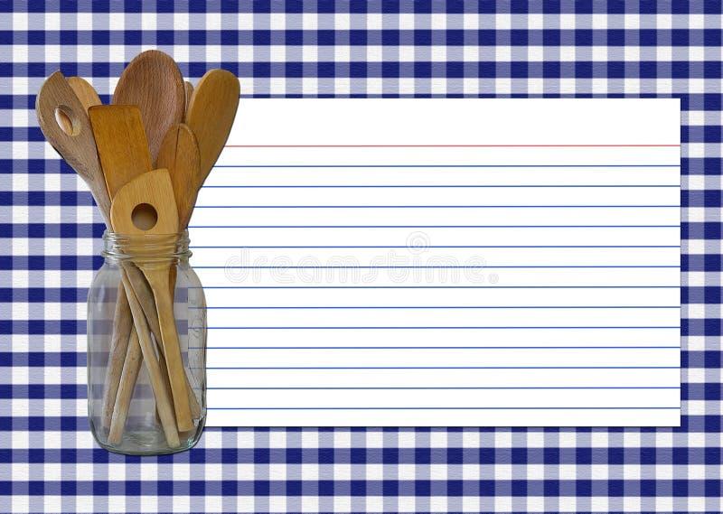 Scheda di ricetta del percalle del blu marino fotografie stock