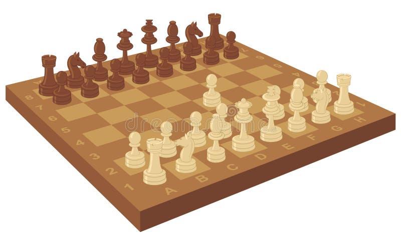 Scheda di scacchi con il primo movimento illustrazione di stock