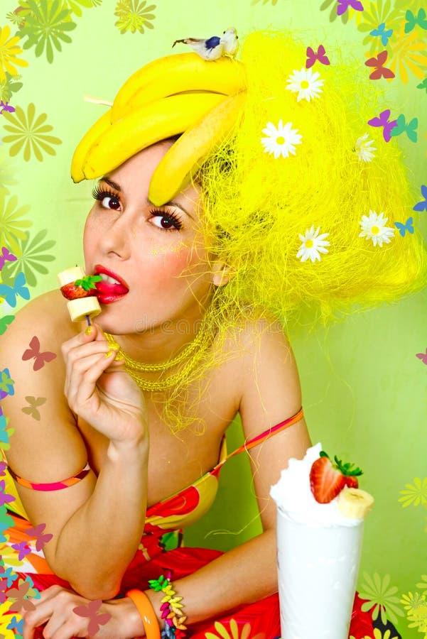 Scheda di spirito incorniciato signora della banana immagini stock