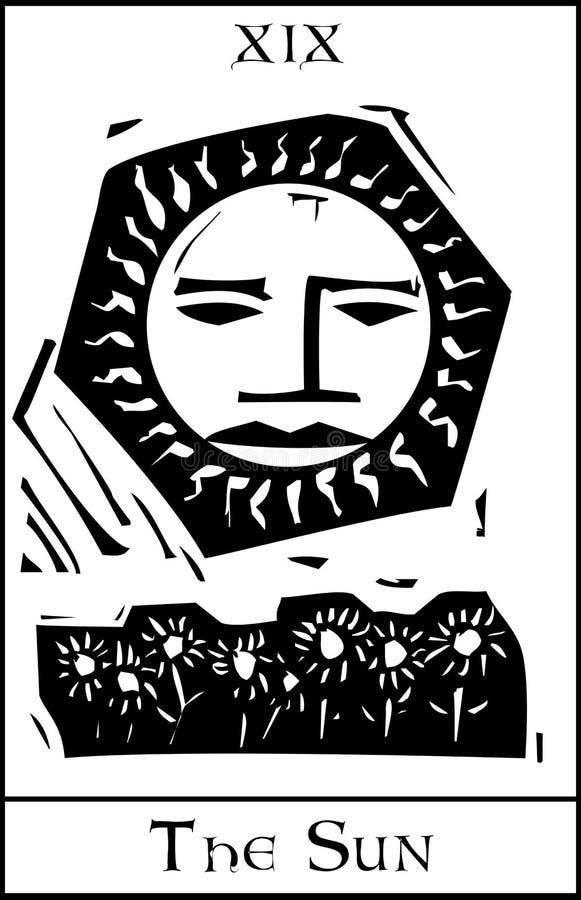 Scheda di tarocchi di Sun illustrazione vettoriale