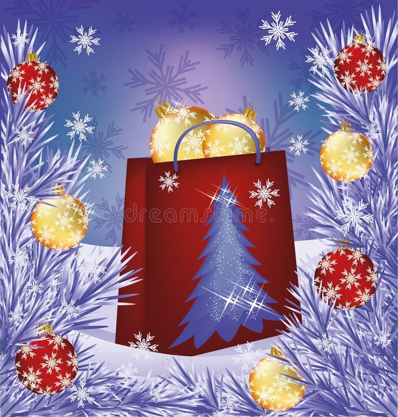 Scheda di vendita di Natale. Presente della borsa del negozio con le palle illustrazione vettoriale