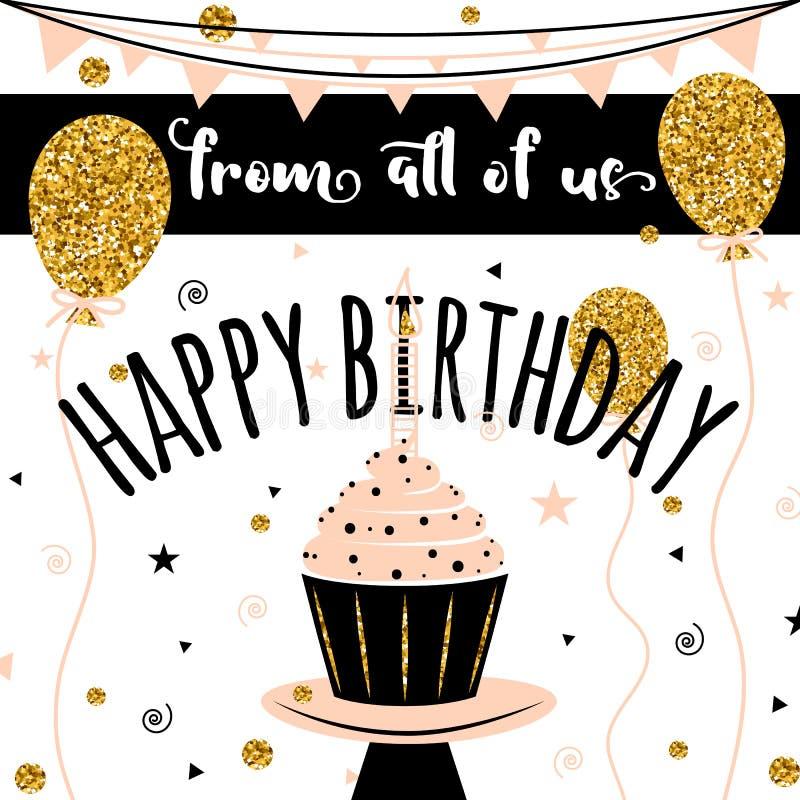 Scheda di vettore di buon compleanno Fondo con i palloni ed il bigné dorati Modello per l'insegna, aletta di filatoio, opuscolo,  illustrazione vettoriale