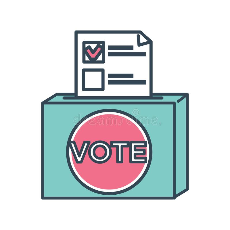 Scheda elettorale di voto con il segno per il candidato scelto dalla gente royalty illustrazione gratis