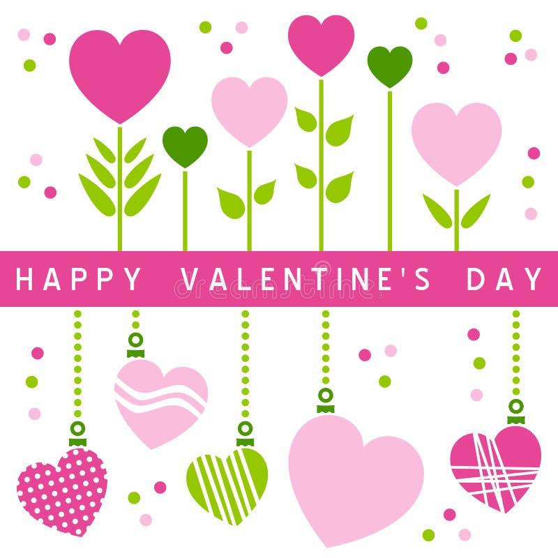 Scheda felice di giorno dei biglietti di S. Valentino [1] illustrazione di stock