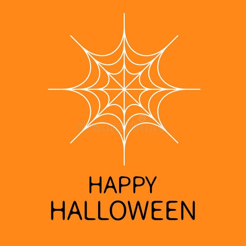 Scheda felice di Halloween Web rotondo del ragno Ragnatela bianca Elemento della decorazione Progettazione piana Fondo arancio royalty illustrazione gratis