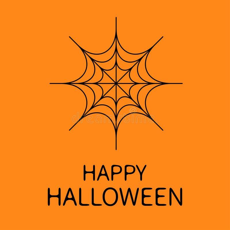 Scheda felice di Halloween Web rotondo del ragno Ragnatela nera Elemento della decorazione Progettazione piana Fondo arancio illustrazione di stock