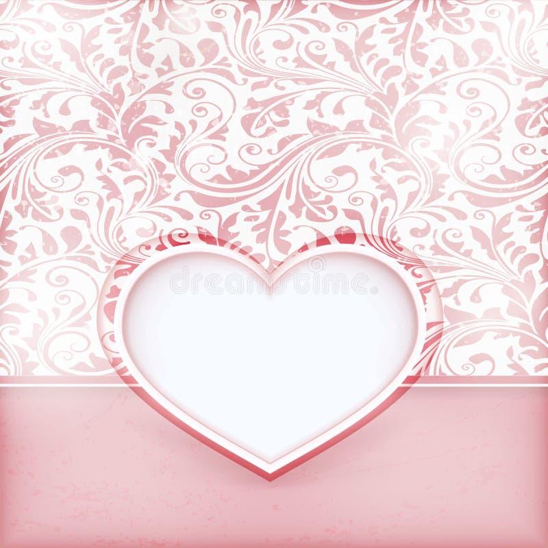 Scheda floreale Grungy dell'invito con il contrassegno del cuore di amore illustrazione di stock