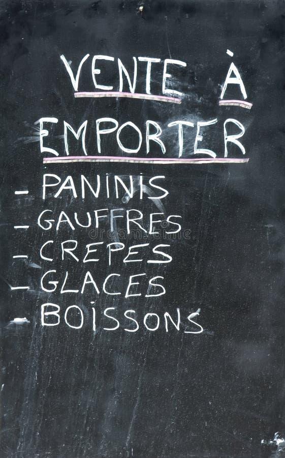 Scheda francese del menu fotografia stock