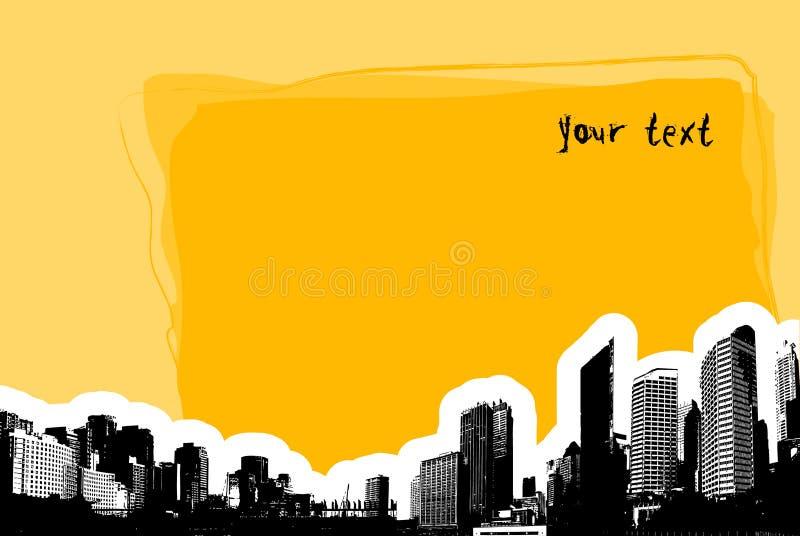 Scheda gialla con la città. Vettore illustrazione di stock