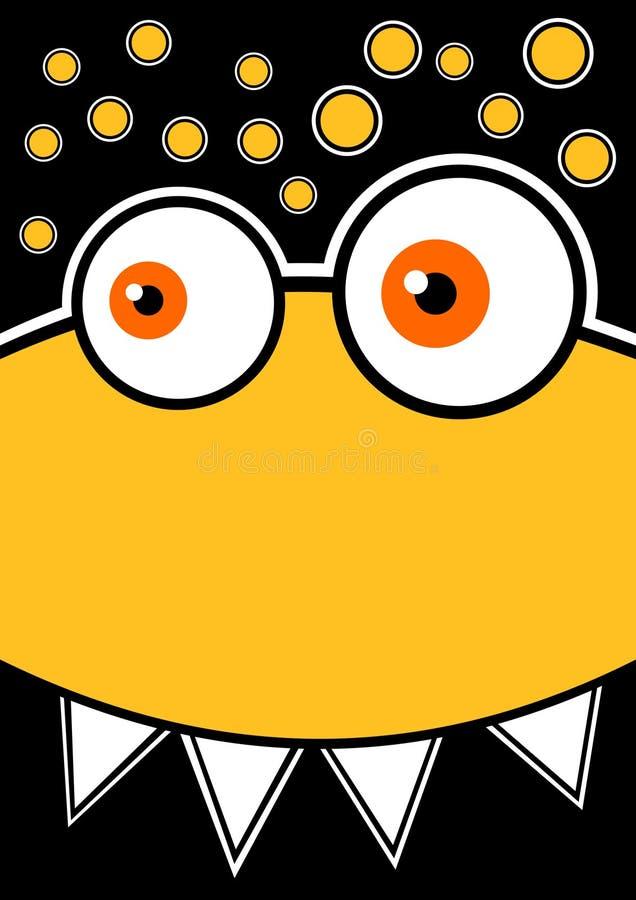 Scheda gialla vertiginosa dell'invito del partito del mostro illustrazione vettoriale