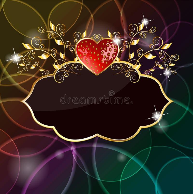 Scheda lucida del cuore della fragola illustrazione di stock