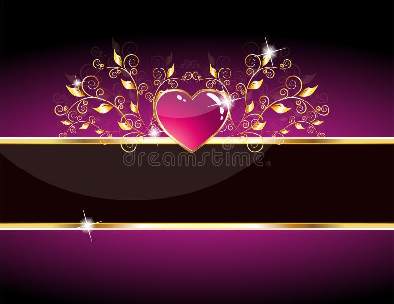 Scheda lucida del cuore viola illustrazione di stock