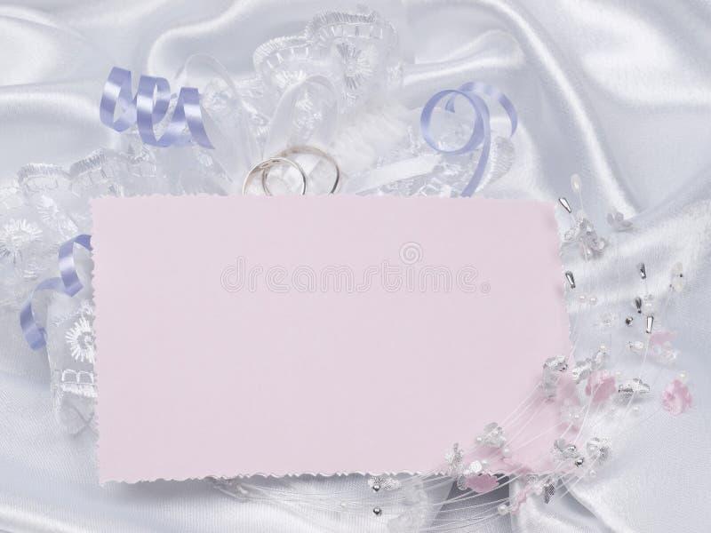 Scheda per gli accessori di cerimonie nuziali e del testo fotografie stock