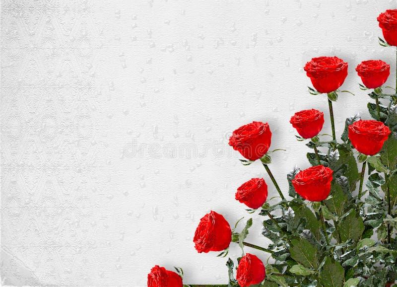 Scheda per l'invito con le rose rosse fotografie stock