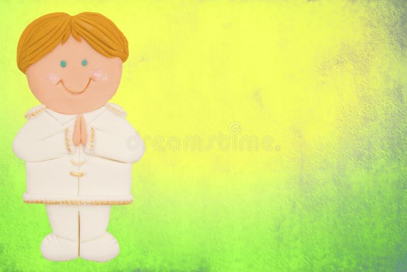 scheda, prima comunione, ragazzo illustrazione di stock