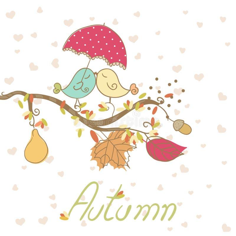 Scheda romantica di autunno illustrazione vettoriale