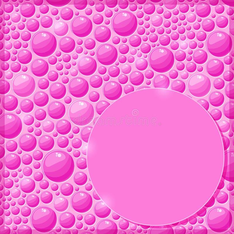 Scheda rosa con le gocce di acqua ed il contrassegno brillanti illustrazione di stock
