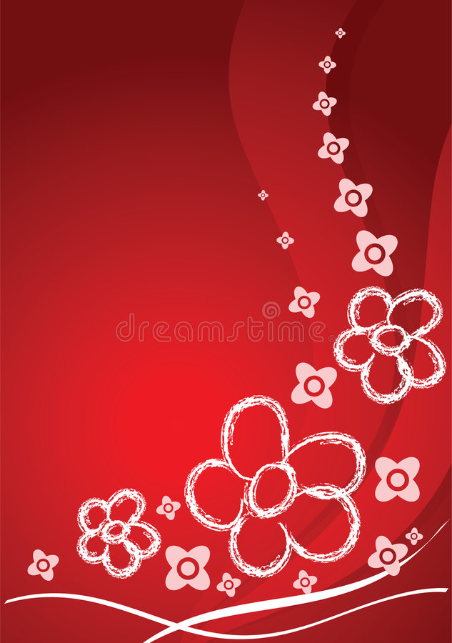 Scheda rossa con i fiori illustrazione di stock
