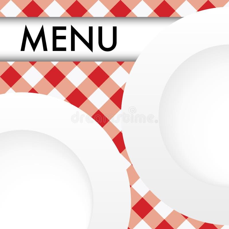 Scheda rossa del menu del percalle illustrazione di stock