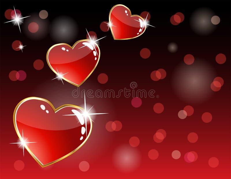 Scheda scintillante del cuore illustrazione di stock