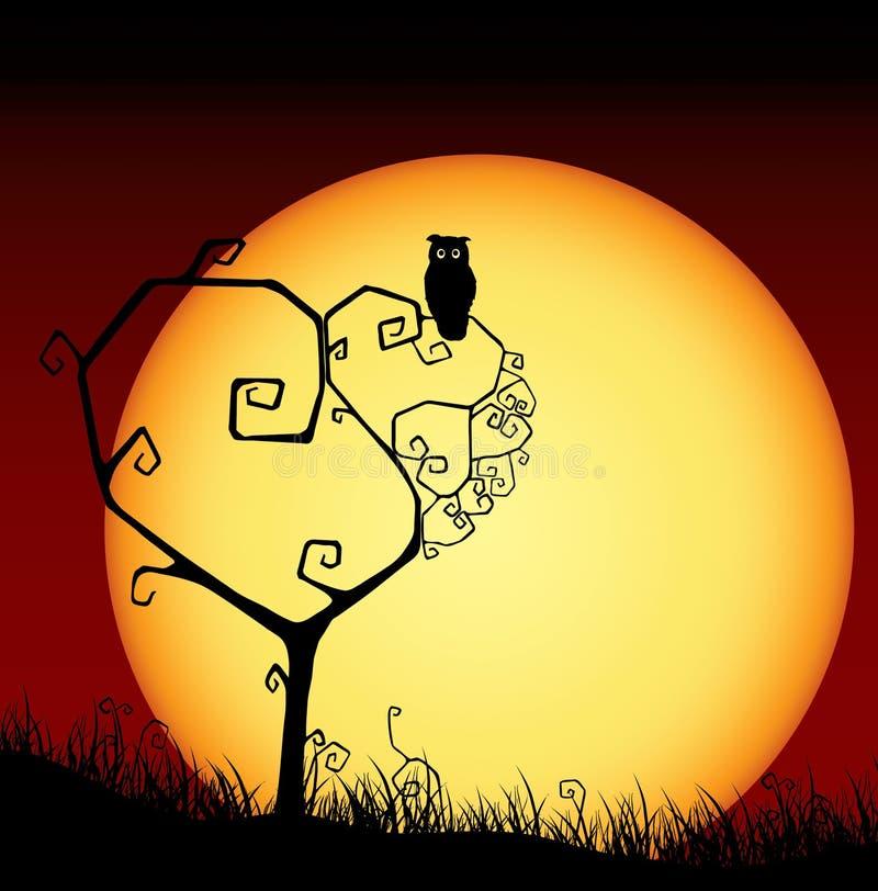 Scheda spaventosa del biglietto di S. Valentino con l'albero ed il tramonto illustrazione di stock