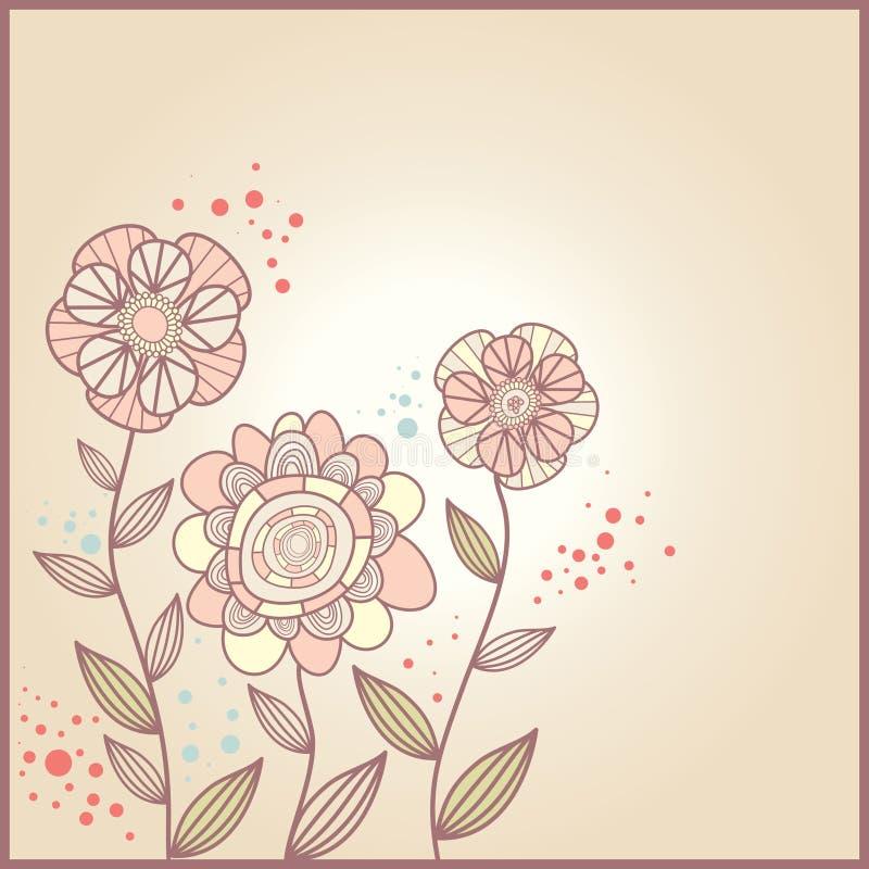 Scheda sveglia con i fiori royalty illustrazione gratis