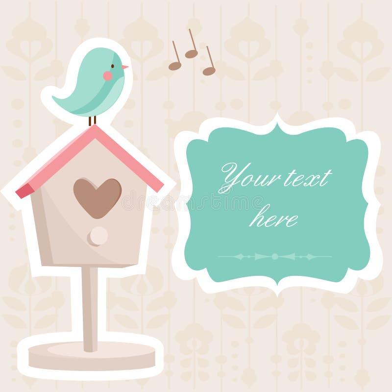 Scheda sveglia con un uccello illustrazione di stock