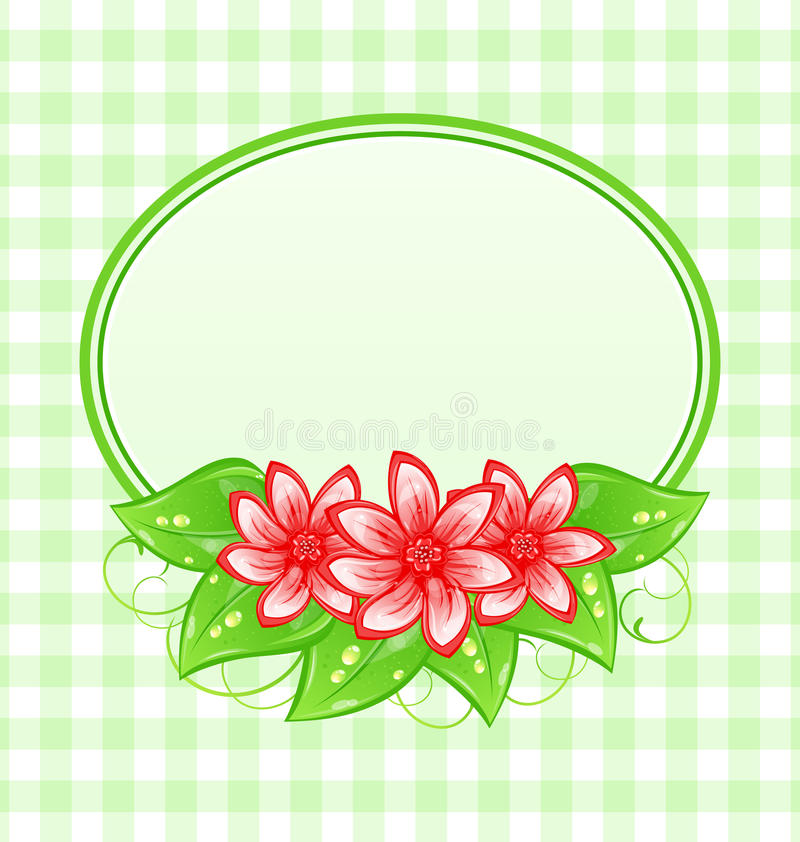 Scheda sveglia della sorgente con i fiori e le foglie royalty illustrazione gratis
