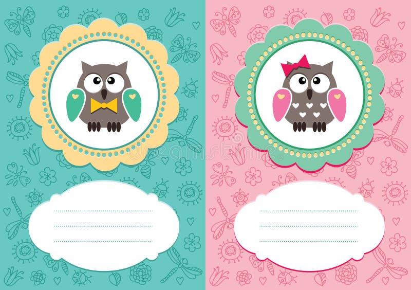 Schede del bambino con i owlets svegli illustrazione di stock
