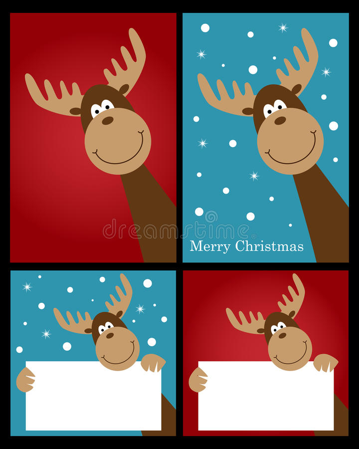 Schede della renna di natale illustrazione vettoriale