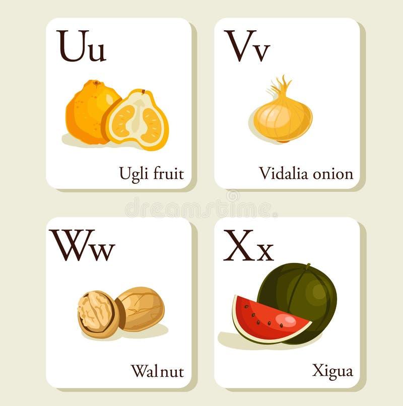 Schede di alfabeto delle verdure e delle frutta illustrazione vettoriale